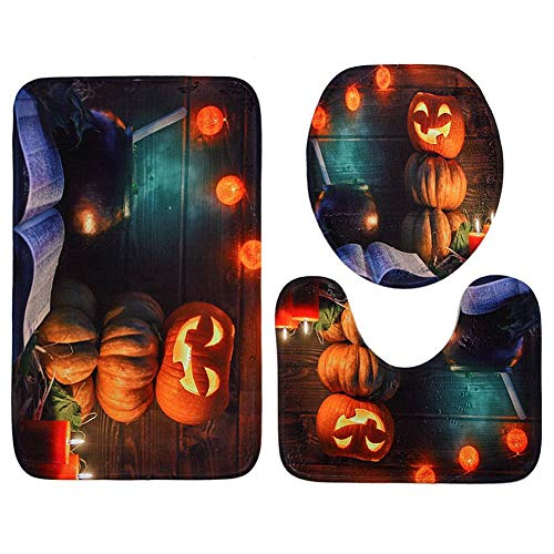 (sikiwind 3 Pieces Bathroom Rug Mats Set Halloween Pumpkin Waterproof Polyester Toilet Seat Cover Lid)