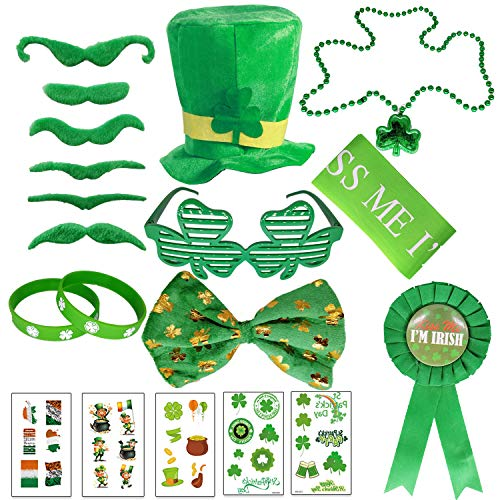 alesTOY St. Patrick's Day Accessory Saint Patricks Party Favors with St. Patricks Shamrock Fedora Hat and Glasses, Beads Necklace Mustaches Sequin Bow Temporary Tattoos and Rubber (Green Giant And Sprout Costumes)