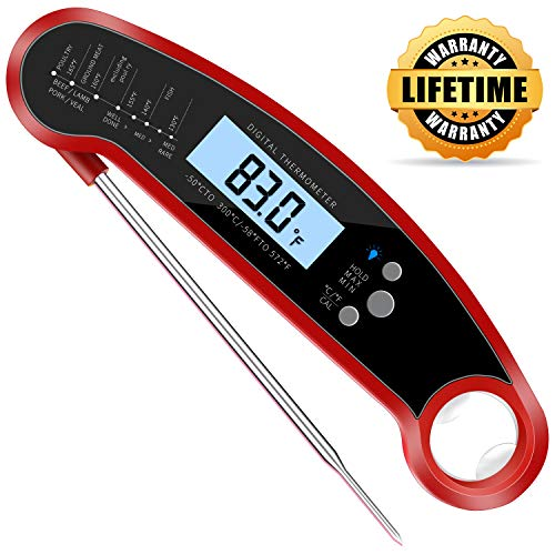- CUGear Instant Read Meat Thermometer, Waterproof Ultra-Fast Thermometer with Backlight & Calibration, Digital Food Thermometer for Kitchen, Cooking, Outdoor BBQ, Grilling, Smoker, Baking (Red)