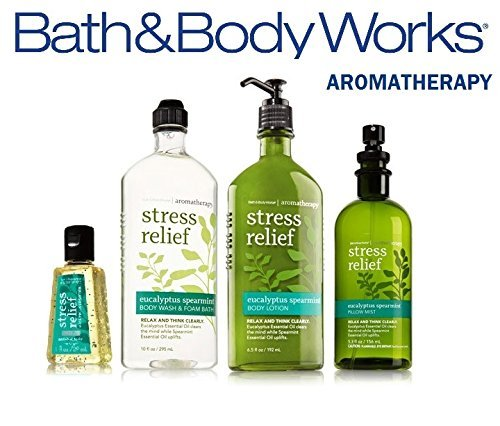 Bath & Body Works Aromatherapy Eucalyptus & Spearmint Body Lotion 6.5 oz, Body Wash Foam Bath 10 oz, Pillow Mist 5.3 oz & Anti-Bacterial Hand Gel 1 oz, Bath & Body Set, (Packaging May Vary)