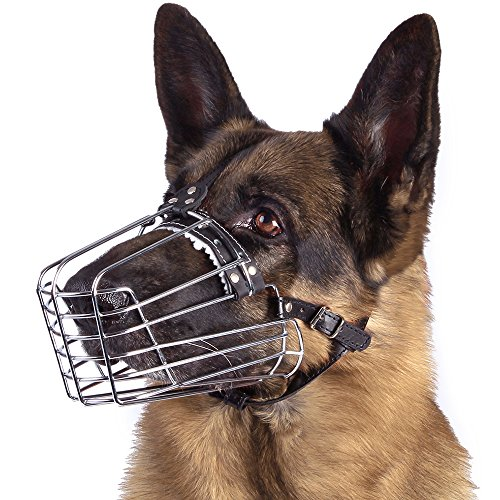 BronzeDog Dog Muzzle German Shepherd Wire Basket Metal Mask Leather Adjustable Medium Large Pets (XL)