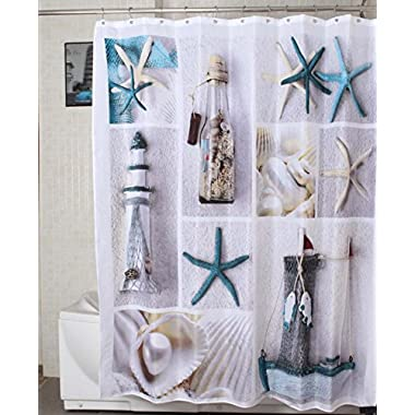 Morning-sunshine 72 X 72 Inch Nautical Shower Curtains Sea World Starfish Shell Shower Curtain- - Water, Soap, and Mildew resistant - Machine Washable Bathroom Decor Curtains