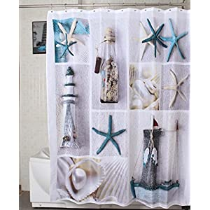 51SHyX9O6JL._SS300_ 200+ Beach Shower Curtains and Nautical Shower Curtains