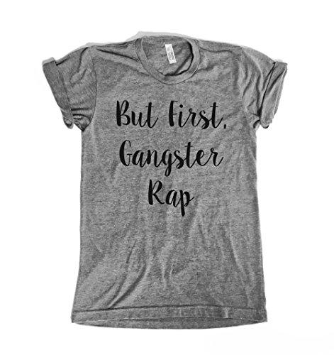 Saturday Morning Pancakes But First, Gangster Rap Women's Shirt. (Large) (Gangster Woman)