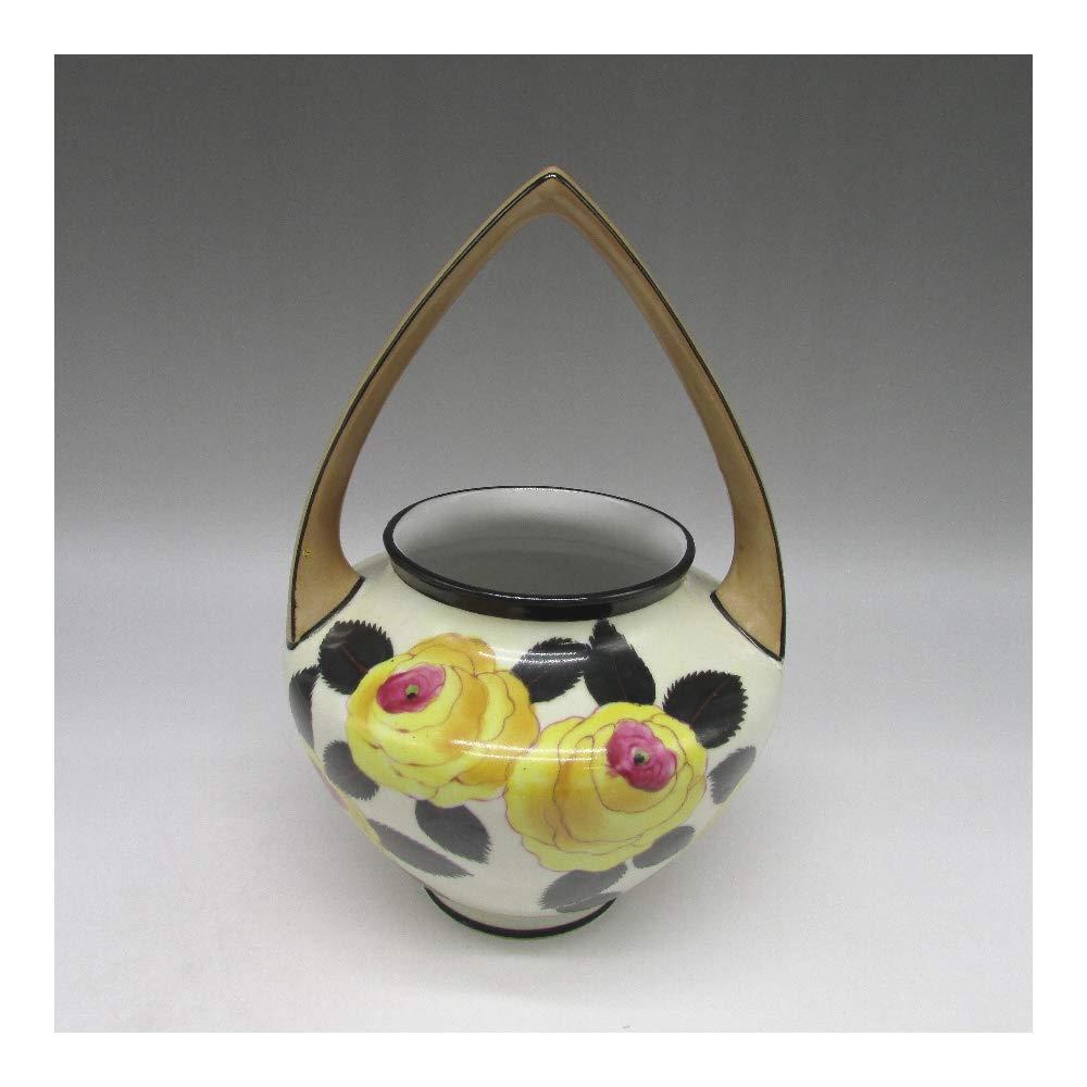 オールドノリタケ : 黄薔薇文バスケット形花瓶 【 1921年頃 - 1941年頃 】【 ヴィンテージ 】 B071P8L26Y