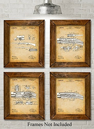 Original Remington Shotguns Patent Art Prints - Set of Four Photos (8x10) Unframed - Great Gift for Duck/Deer (Antique Military Prints)