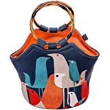 """Art of Lunch Large Neoprene Lunch Bag Purse 11"""" X 15"""" X 6"""" Reusable Insulated Lunch Bag with Inside Pocket - Design by Budi Kwan (Indonesia) - Flock of Birds"""