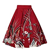 Girstunm Women's Pleated Vintage Skirt Floral Print A-Line Midi Skirts with Pockets Red-Swan M