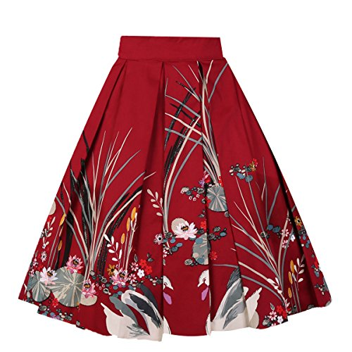 Girstunm Women's Pleated Vintage Skirt Floral Print A-line Midi Skirts with Pockets Red-Swan S