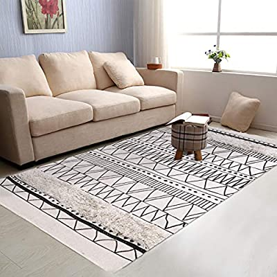 Tufted Geometric Cotton Area Rug 3' x 5', KIMODE Hand Woven Print Tassels Throw Rugs Carpet Door Mat,Indoor Area Rugs for Bathroom,Bedroom,Living Room,Laundry Room - ★COTTON MATERIA: 45% Cotton+ 45% polyester+10% viscose, handmade woven rugs with extra snazzy knotted fringe tassels on each side, surface with block printed, reversible for double.(size not include tassel) ★3D TUFTED DESIGN: Hand tufted with a half inch of soft pile height which is plush underfoot yet withstands high traffic, a little tufted design with a cozy and luxurious feel. ★MOROCCAN AREA RUG: Decorative Moroccan pattern and throw it in your Porch, kitchen rug, bathroom rug, laundry Room,entry way rug, apartment rug, dorm room rug and more, it also can be used as a decorative tapestry to lighten your space. - living-room-soft-furnishings, living-room, area-rugs - 51SHz73KROL. SS400  -