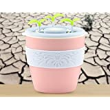 ASIBT Anion Ultrasonic Flower Pot Humidifier/Diffuser-235ml Air Purifier, USB Powered with Auto On/Off For Home, Office or Car (Pink)