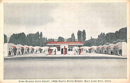 Salt Lake City Utah Casa Blanca Auto Court Street View Antique Postcard -