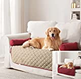 QUICK FIT - Wubba Dog and Cat Reversible Bed Furniture Pet Protector, 45 x 34, Burgundy Red and Beige