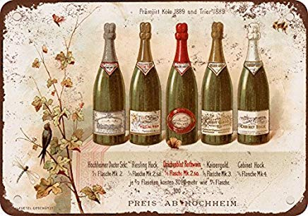 - Bruyu5se Metal Sign, Tin Sign, 1890 German Riesling Wine Vintage Look Reproduction Metal Tin Sign 12X18 Inches
