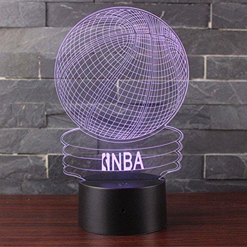 3D Lampara de Escritorio Mesa 7 cambiar el color boton tactil de escritorio del USB LED lampara de tabla ligera Decoracion para el Hogar Decoracion para Ninos Mejor Regalo (Baloncesto NBA)