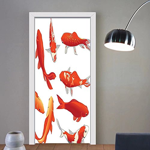 Gzhihine custom made 3d door stickers Ocean Animal Decor Legendary Koi Fish Band Chinese Good Fortune and Power Icon Tranquil Orange White For Room Decor 30x79 by Gzhihine (Image #6)