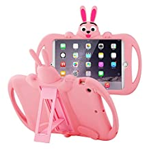 JUN-Q® Lovely Banny Rabbit Case iPad Mini Shockproof Drop Proof for Kids,Extreme-Duty Military Transformer Soft Silicone Case Kickstand Holder Cover for iPad Mini/iPad Mini 2 /iPad Mini 3 (Pink)