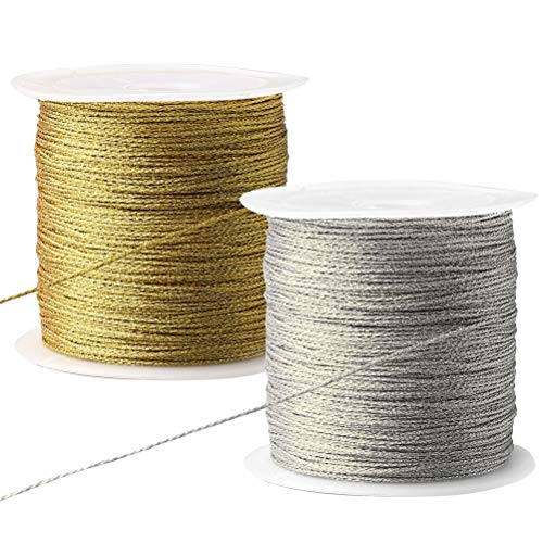 Pengxiaomei 218 Yards/656 Feet Metallic Cord, 2 Spool Metallic Thread Gold Jewelry Thread Silver Craft String Tinsel String Craft Making Cord(0.5mm)