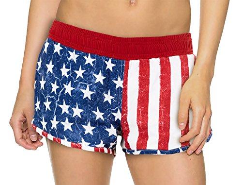 Calhoun Women's USA Flag Boardshorts (Extra (Poly Extra American Flag)