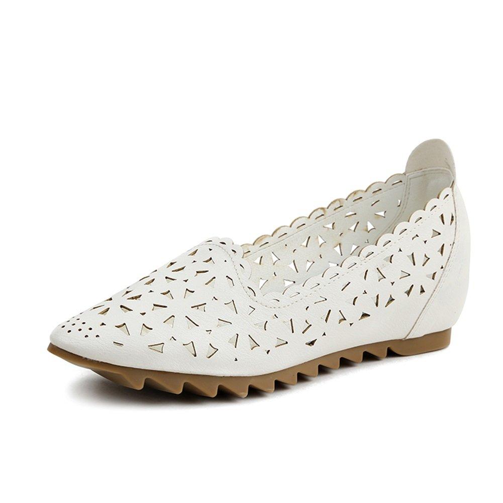 Frauen Sandalen PU Sommer aushouml;hlen Keilabsatz Schuhe Flacher Mund Weichen Unteren Erbsen Schuhe fuuml;r Casual  36 EU|Ein