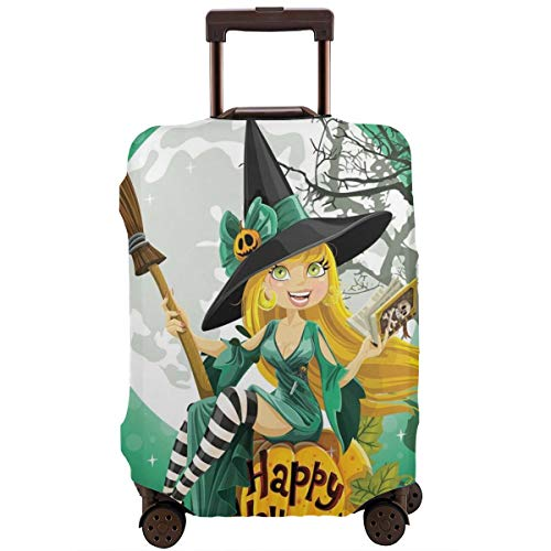 Travel Luggage Cover,Cheerful Smiling Girl In Halloween Costume On A Pumpkin Giant Moon Woodland Suitcase -