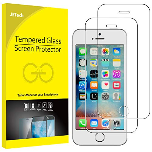 JETech Screen Protector for iPhone SE 5s 5c 5, Tempered Glass Film, 2-Pack (Best Tempered Glass Screen Protector Iphone 5)