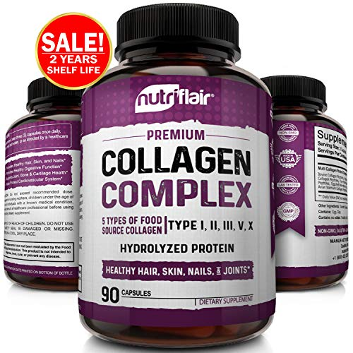 51SI%2BGe8O9L - NutriFlair Multi Collagen Pills - Type I, II, III, V, X - Premium Collagen Peptides Complex for Anti-Aging and Healthy Joints, Hair, Skin, and Nails - Hydrolyzed Protein Supplement for Women and Men