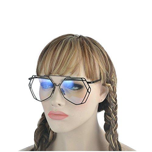 MINCL/Oversized Metal Geometric Frame Clear Lens and Color Sunglasses -yhl (black-plain, - Plain Black Sunglasses