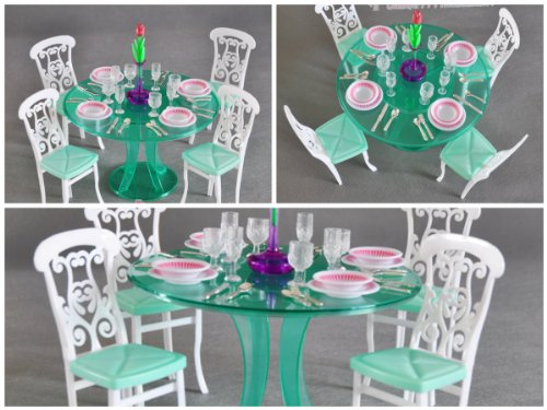 gloria Barbie Size Dollhouse Furniture Dining Room, Green