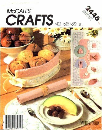 McCall's 2446 Crafts Sewing Pattern Table Linen Runner Placemats Napkins Bread Basket Coasters (Placemat Mccalls)