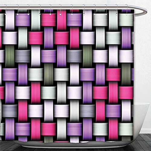Interestlee Shower Curtain Abstract Knot Pattern with Large Fractal Yarns Geometric Linked Bands Graphic Pink Purple Silver Grey