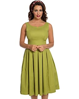 Lindy Bop Felicia Olive Green Swing Dress