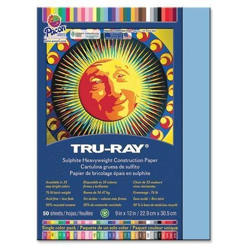 "Tru-Ray Construction Paper, 76lb., 9""x12"", 50/PK, Sky Blue (103016)"