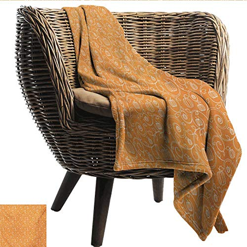 Anshesix Sofa Blanket Harvest Pattern with Pumpkin Leaves and Swirls on Orange Backdrop Halloween Inspired Elegant and Comfortable W80 xL60 Sofa,Picnic,Camping,Beach,Everyday use