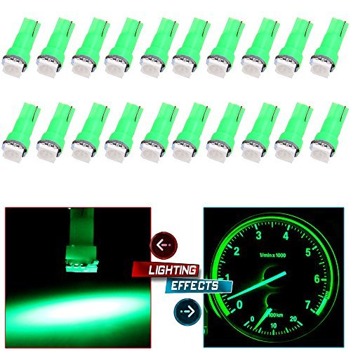 cciyu 20 Pack T5 58 70 73 74 Dashboard Gauge 5050SMD LED Wedge Lamp Bulb Light 6 Colors Fits 2005-2007 GMC Sierra 1500 1500 HD Yukon Yukon XL 1500 Sierra 1500 1500 HD 2500 HD 3500 (20pack green)