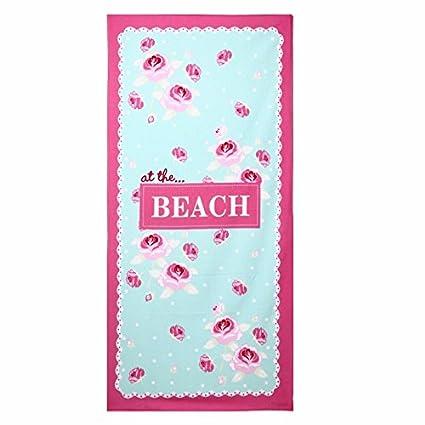 Ktfactory Toalla de playa Manta de playa Rectángulo 150x70cm Flores de color rosa Picnic Manta de