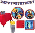 Party City Captain Marvel Tableware Kit for 8 Guests, Includes Table Cover, Table Decorating Supplies, Banner