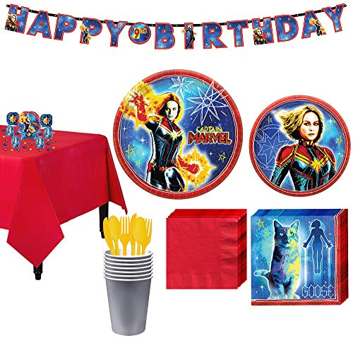 Party City Captain Marvel Tableware Kit for 8 Guests, Includes Table Cover, Table Decorating Supplies, Banner]()