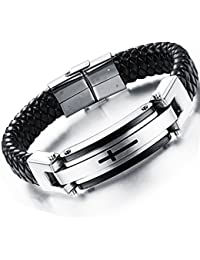 Mens Bracelet Stainless Steel Braided Real Leather Braid...