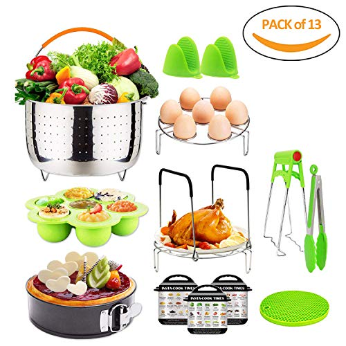 Pressure Cooker Accessories 13pcs for instant pot 6,8 Qt - Yovanpur Steamer Baskets, Springform Pan, Egg Steamer Rack, Egg Bites Mold, Dish Plate Clip