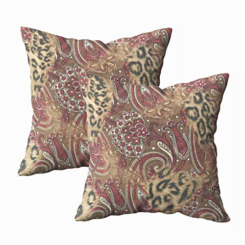 Musesh Pack of 2 leopard paisley pattern print Cushions Case Throw Pillow Cover Sofa Home Decorative Pillowslip Gift Ideas Household Pillowcase Zippered Pillow Covers 20X20Inch ()