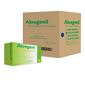 Aloegenii - Green Vinyl Gloves, 4 mil, Case of 1000, Medium, Disposable, Powder-Free, Latex-Free, Industrial Grade, General Use, Cleaning & Food Service