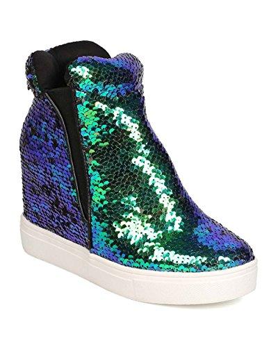 Women Sequin High Top Hidden Wedge Sneaker GB22 - Mermaid (Size: -