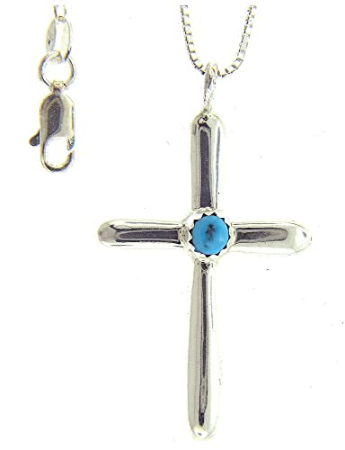 By Navajo artist Pauline Nelson Beautiful Sterling-silver Navajo Turquoise Cross Pendant-necklaces