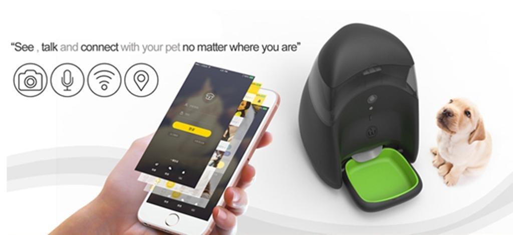 Natood 3,5 L Smartphone App Control Hund füttern Gerät Haustier Timing Intelligent Feeder Haustier Katze und Hund Futternapf – bis zu 4 Mahlzeiten A Day weiß