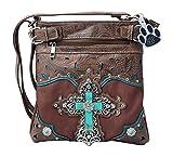 HW Collection Western Imitation Turquoise Cross Tooling Concealed Carry Crossbody Handbag Messenger Bag (Dark Brown)