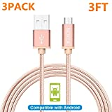 NOKEA 3 Pack 3FT [Golden] Lightning Cable Charging Cord Nylon Braided Micro USB Cable Charging Cord Wire Universal for Samsung, Nexus, LG, HTC, Motorola, Nokia, Android (3PACK 3FT)