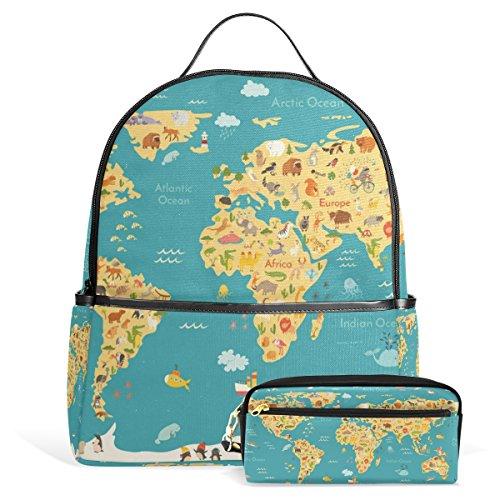 Mochila escolar con estuche para lápices, diseño de mapa de animales para niños, para colegio, escuela secundaria,...