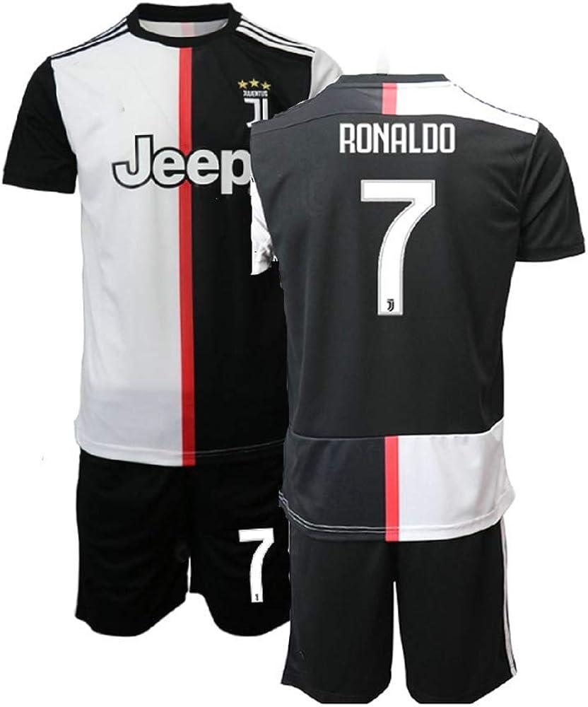 TAOZHUANG 19//20 Gar/çon//Jeune Ronaldo 7# Maillot de Football Maillot de Joueur Noir
