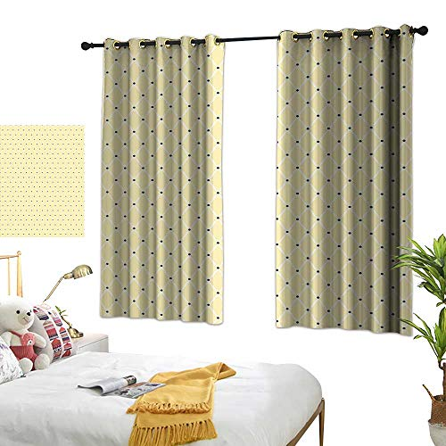 Unpremoon Curtain Panels Ivory,Rectangular Shaped Image Connected with Polka Dots and Bold Lines Artwork,Beige Black and White W55 x L72 Drapes for Living Room ()